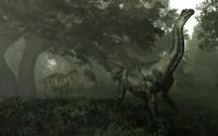 An Antarctosaurus stalked by Abelisaurus in a prehistoric landscape Fine Art Print