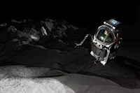 Two Manned Maneuvering Vehicles explore the airless, microgravity environment of a small asteroid Fine Art Print