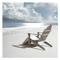 Solitary Beach Chair Fine Art Print