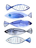 Retro Watercolour Fish Fine Art Print