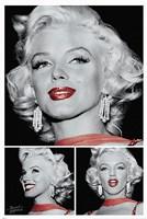 Marilyn - Red Lips Trio Framed Print