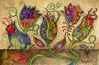 Mosaic Flowers-Beige Fine Art Print