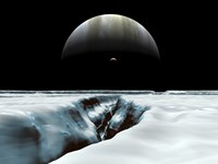 A Crescent Jupiter and Volcanic Satellite, Io, Hover over the Horizon of the Icy Moon of Europa Fine Art Print