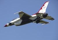 A US Air Force F-16 Thunderbird Jet in Flight over Belgium Fine Art Print