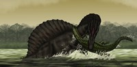 A Spinosaurus Catches a Young Stomatosuchus Fine Art Print