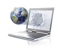 Planet Earth Globe Coming Out From a Laptop Computer Fine Art Print