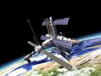 Space Station in Orbit Around Earth Fine Art Print