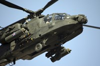 An AH-64 Apache in Flight Fine Art Print