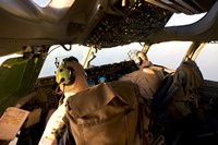 US Army Pilots in-Flight in the Cockpit of a C-17 Globemaster III during a Mission to Qatar Fine Art Print