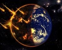 A Swarm of Deadly Meteorites Impact Earth on Armageddon Day Fine Art Print