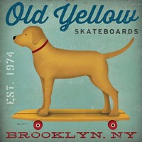 Golden Dog on Skateboard Fine Art Print