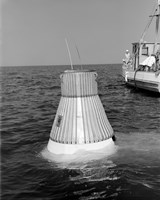 A Model of the Mercury Capsule undergoes Floatation Tests Fine Art Print