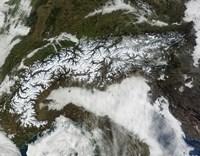 Satellite Image of The Alps Mountain Range Fine Art Print