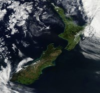 Satellite view of New Zealand Fine Art Print