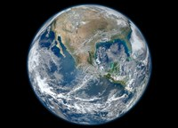 A Blue Marble image of Earth showing North America Fine Art Print