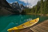 Canoe along Moraine Lake, Banff National Park, Banff Fine Art Print