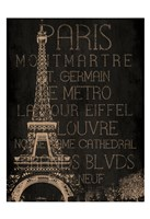 Burlap Paris Framed Print