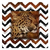 Cheetah with Chevron Border Framed Print