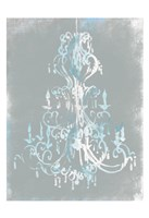 Blue Grey Chandelier Fine Art Print