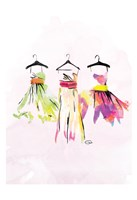 Watercolor Dresses III Framed Print