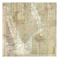 Wooden Map NY Framed Print