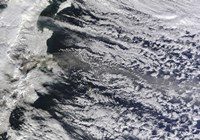 Satellite view of an Ash Plume Rising from Russia's Shiveluch volcano Fine Art Print