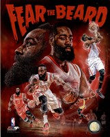 James Harden Fear the Beard Portrait Plus Framed Print