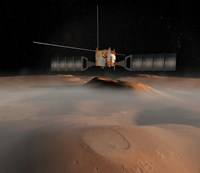 Artist's Concept of Mars Express Spacecraft in Orbit Around Mars Fine Art Print