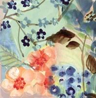 Blue Peach Floral II Fine Art Print