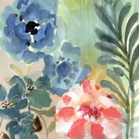 Blue Peach Floral I Fine Art Print