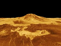 3D Perspective View of Maat Mons on Venus Fine Art Print