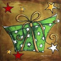 Green Stars Present Framed Print