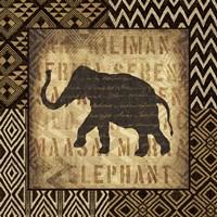 African Wild Elephant Border Framed Print