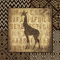 African Wild Giraffe Border Framed Print