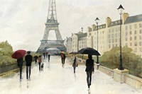 Eiffel in the Rain Marsala Umbrella Fine Art Print