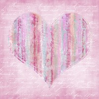 Striped Pink Heart Fine Art Print