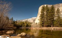 El Capitan towers over Merced River, Yosemite, California Fine Art Print