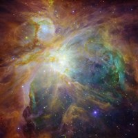Spitzer and Hubble Create Colorful Masterpiece Fine Art Print