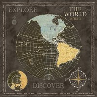 Old World Journey Map Black I Fine Art Print