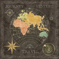 Old World Journey Map Black II Fine Art Print