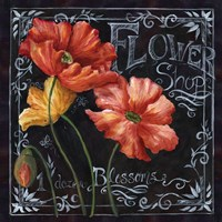 Flowers in Bloom Chalkboard I Framed Print