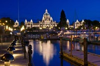Canada, British Columbia, Victoria, Inner Harbor at Dusk Fine Art Print