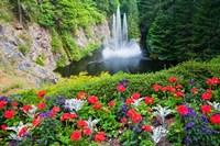 Butchart Gardens Water Fall, Victoria, British Columbia, Canada Fine Art Print