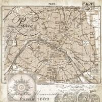 Euro Map I - Paris Framed Print