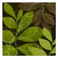 Green Brown Leaves 2 Framed Print