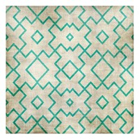 Teal on Tan Pattern Framed Print