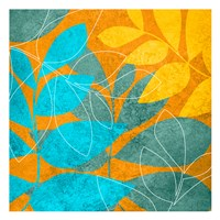 Aqua Leaves 1 Framed Print