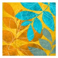 Aqua Leaves 2 Framed Print