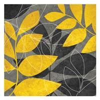 Grey Gold Leaves 1 Framed Print