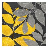 Grey Gold Leaves 2 Fine Art Print